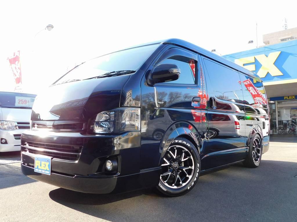 ヘッドライトはインナーブラック施工済み!黒を基調としたブラックカスタムはカッコいいです! | トヨタ ハイエース 2.7 GL ロング ミドルルーフ 漆黒の3型ワゴンカスタム