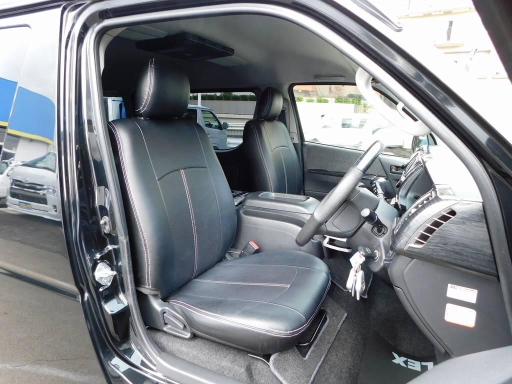 ハイエースカスタムには欠かせない黒革調シートカバーはもちろん装着済み!全席装着されてます♪ | トヨタ ハイエース 2.7 GL ロング ミドルルーフ 漆黒の3型ワゴンカスタム