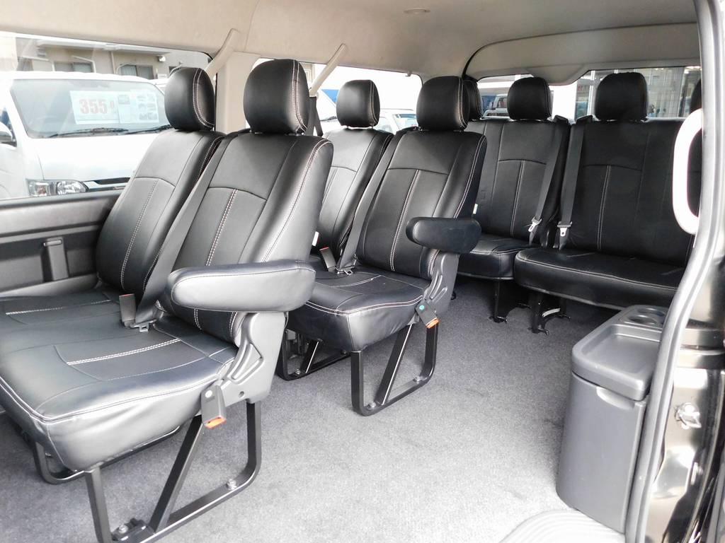 国産で10人乗りと言ったらハイエースですねっ♪この広々とした室内はファミリーに大人気です! | トヨタ ハイエース 2.7 GL ロング ミドルルーフ 漆黒の3型ワゴンカスタム