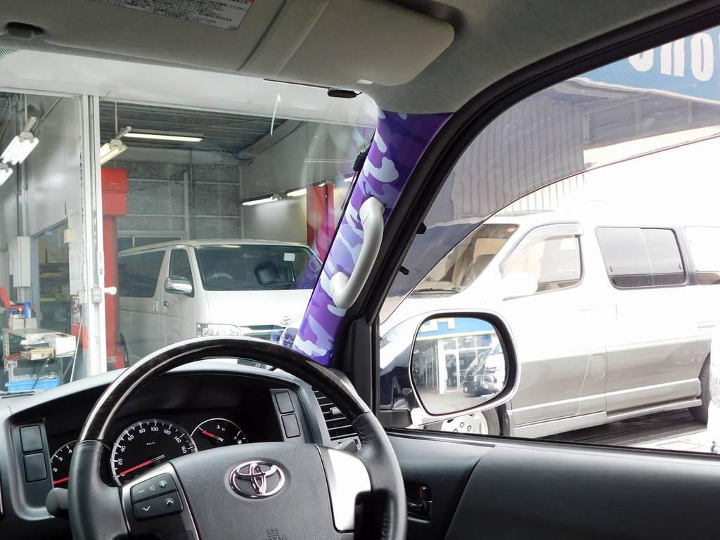 Aピラーには遊び心をプラス!なかなか良い感じですよぉ!!! | トヨタ ハイエースバン 3.0 スーパーGL  ダークプライム ロングボディ ディーゼルターボ ESSEXフルエアロ仕様