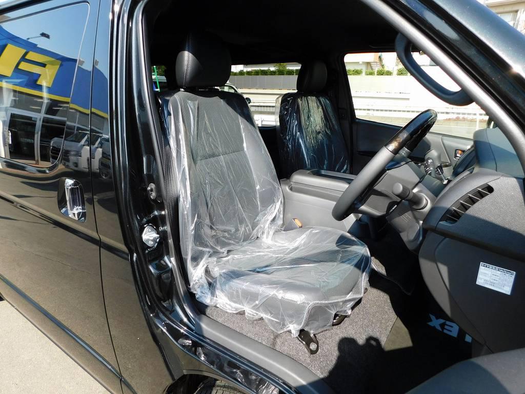 ダークプライムⅡ専用のハーフレザーシート!高級感がありますねっ♪ | トヨタ ハイエースバン 2.0 スーパーGL ダークプライムⅡ ロングボディ ナビパッケージ車
