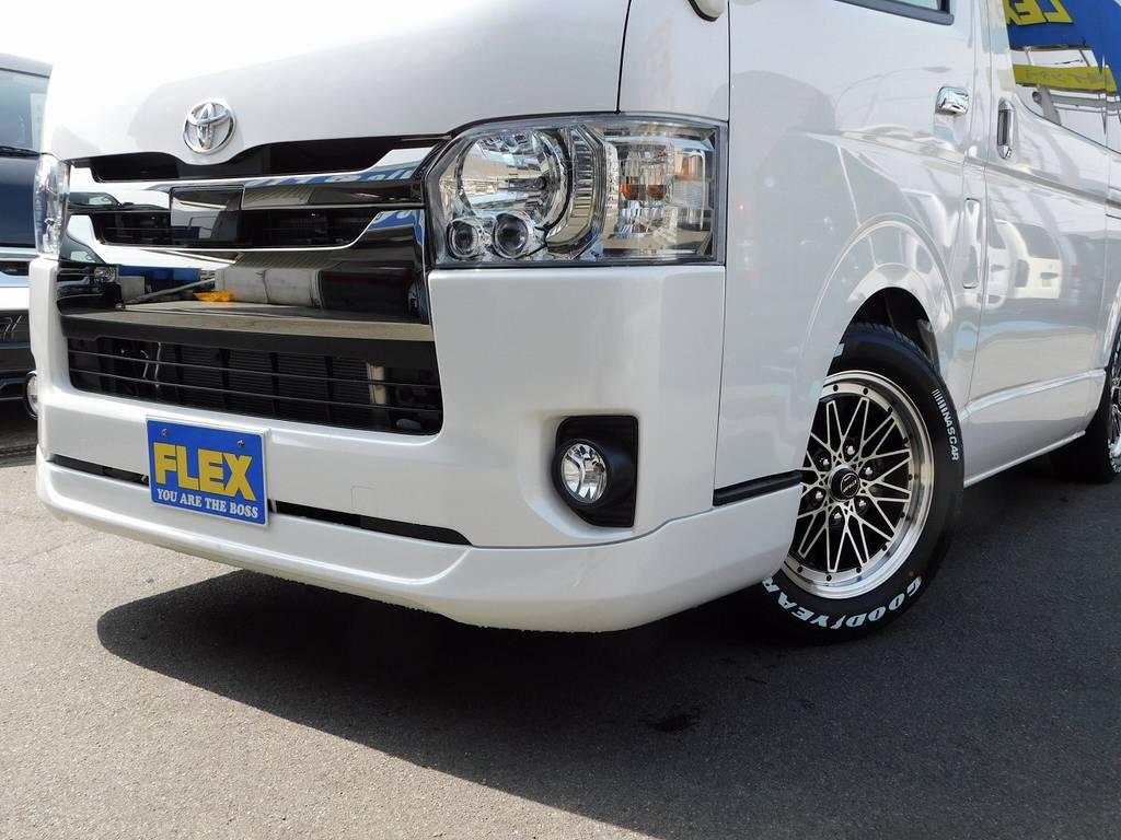 フロントリップはESSEX製を装着!ABSですので割れづらいのも良いですねっ♪ | トヨタ ハイエースバン 2.0 スーパーGL ダークプライムⅡ ロングボディ スタイリッシュカスタムパッケージ