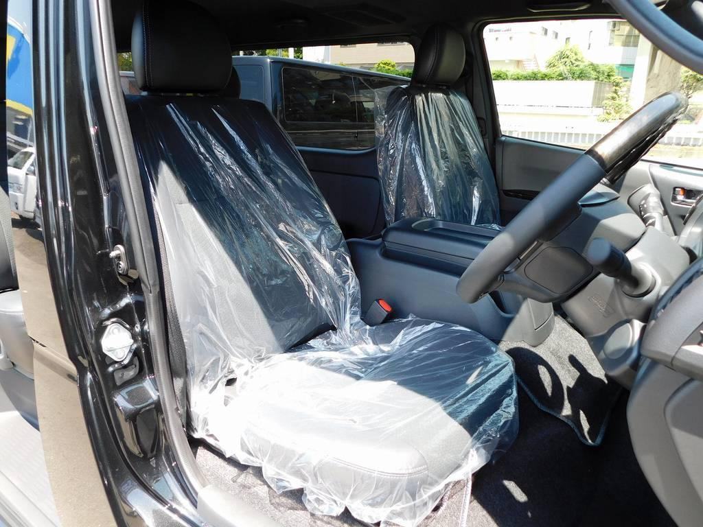 特別仕様車専用のハーフレザーシート!高級感もあり上質ですよっ♪ | トヨタ ハイエースバン 2.8 スーパーGL ダークプライムⅡ ロングボディ ディーゼルターボ ブラックカスタムパッケージ