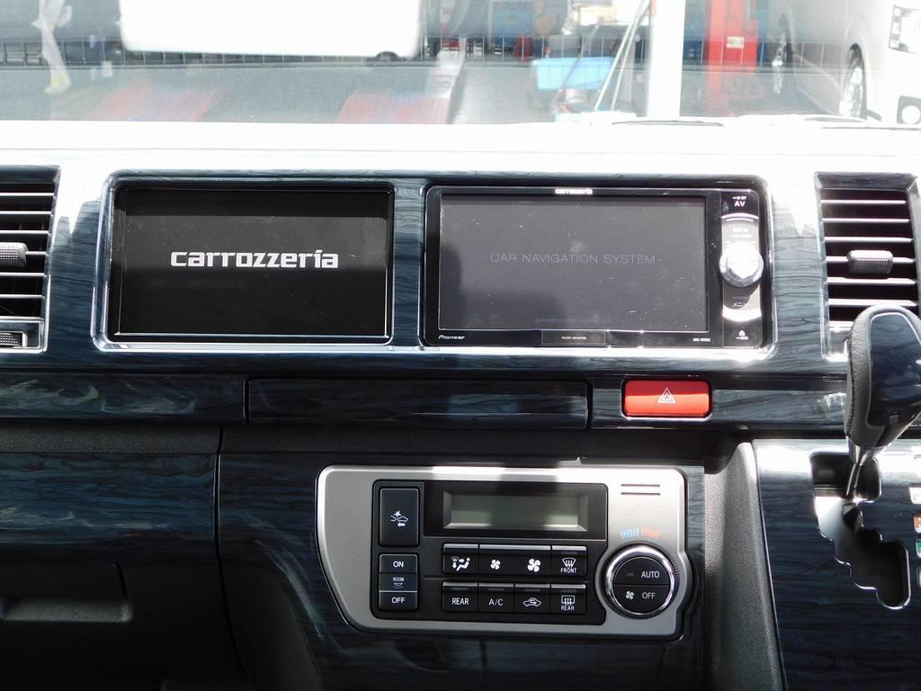 搭載されているナビは人気のカロッツェリア!7型サブモニターも装着してますのでナビとテレビが同時に映せますよぉ♪ | トヨタ ハイエース 2.7 GL ロング ミドルルーフ トリプルモニターパッケージ車