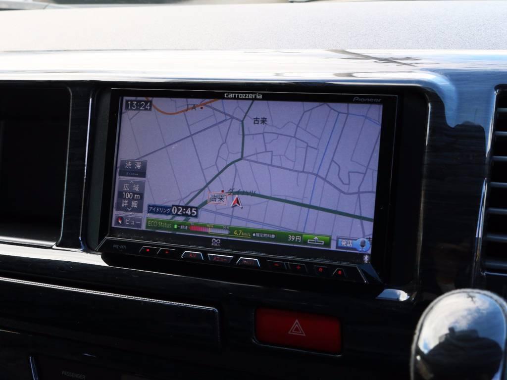 カロッツェリア製HDDサイバーナビ、フルセグTV、DVD再生可能です! | トヨタ ハイエース 2.7 GL ロング ミドルルーフ シートレック