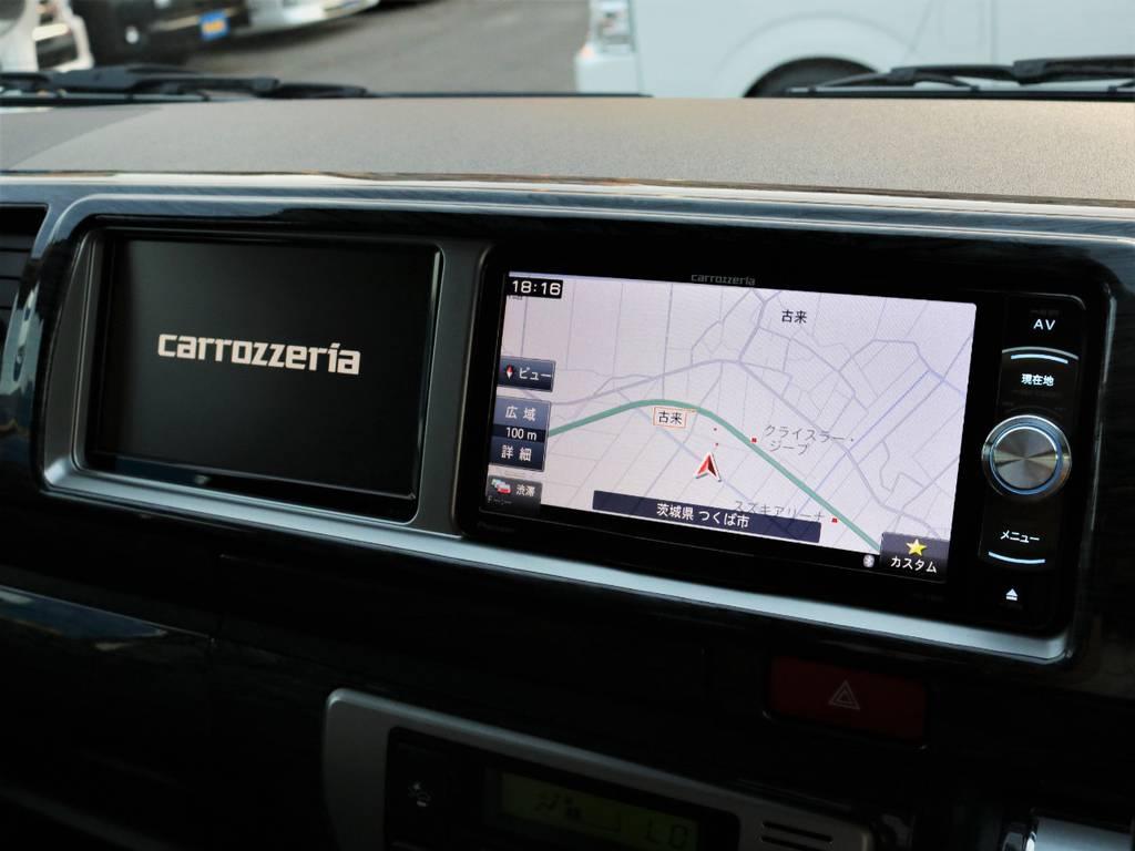 カロッツェリア製SDナビ、フルセグTV、DVD再生可能!カロッツェリア製サイドモニター! | トヨタ ハイエース 2.7 GL ロング ミドルルーフ 4WD ライトカスタム 新型