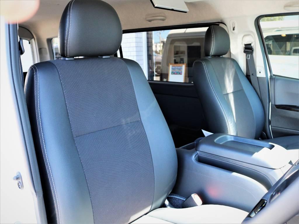 運転席シート、専用ハーフレザーシート! | トヨタ ハイエースバン 2.8 スーパーGL ワイド ロング ミドルルーフ ディーゼルターボ 特別仕様車ダークプライム 新型