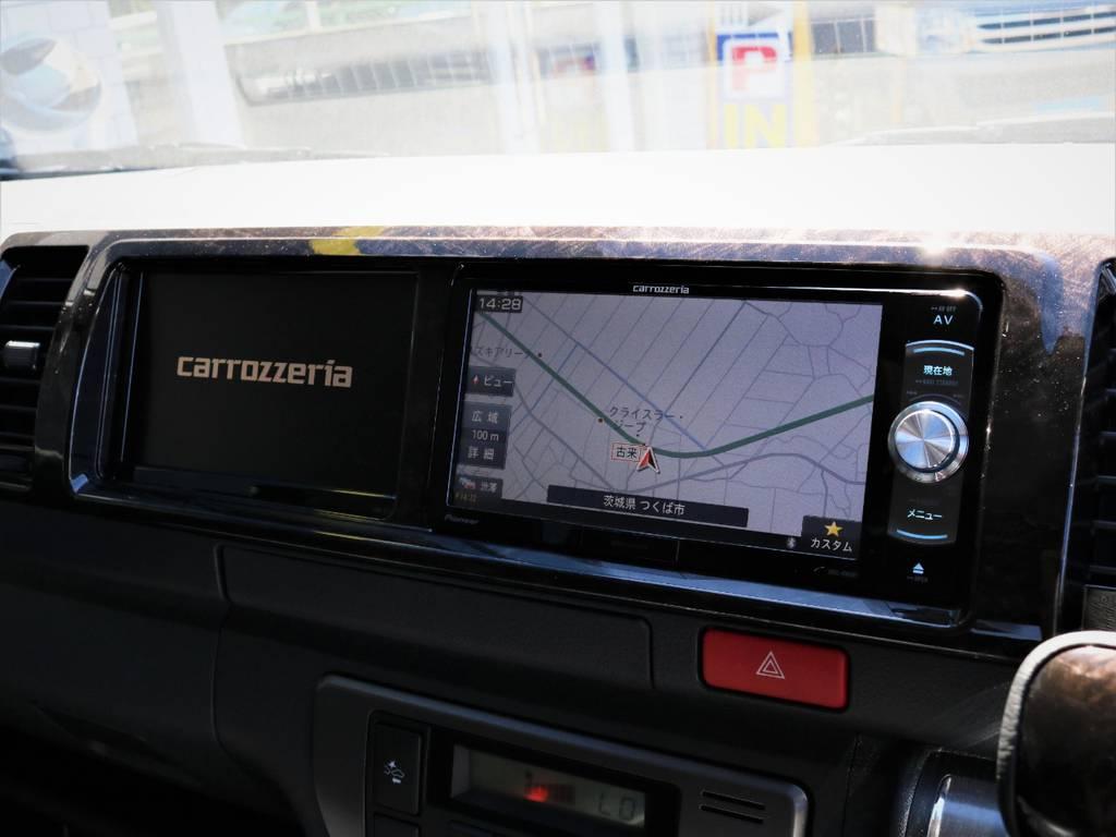 カロッツェリア製SDナビ、フルセグTV、DVD再生可能!カロッツェリア製サイドモニター! | トヨタ ハイエースバン 2.8 スーパーGL ワイド ロング ミドルルーフ ディーゼルターボ 特別仕様車ダークプライム 新型