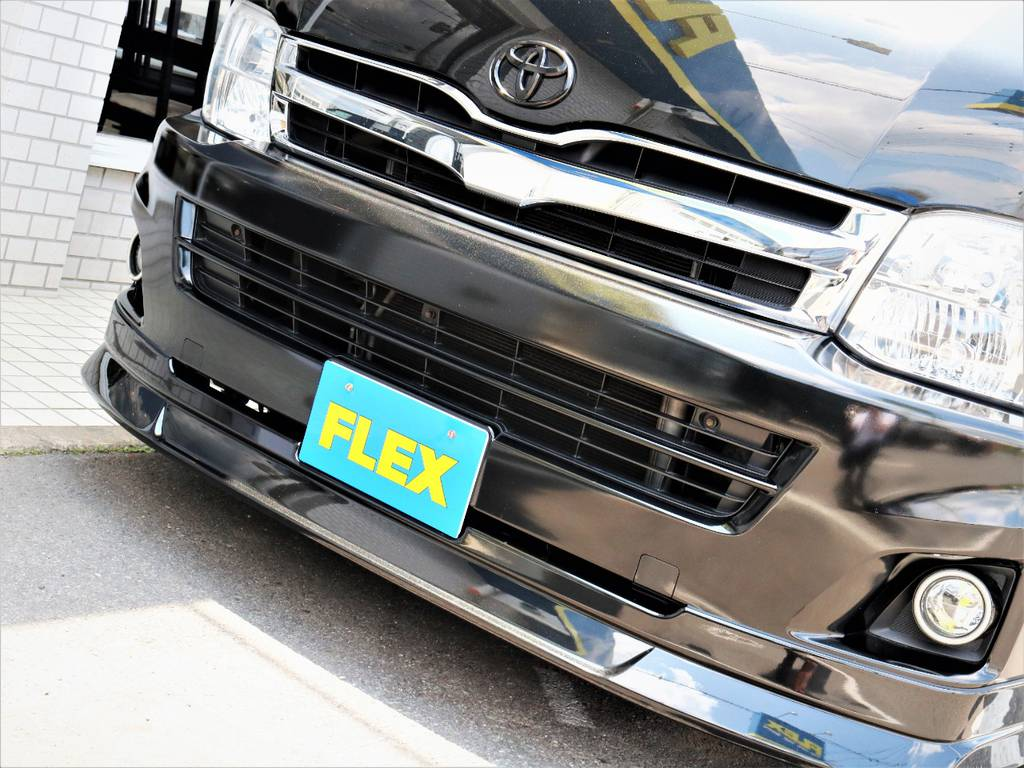 FLEXオリジナルデルフィーノラインフロントスポイラー! | トヨタ ハイエース 2.7 GL ロング ミドルルーフ キャプテンシート ベッド