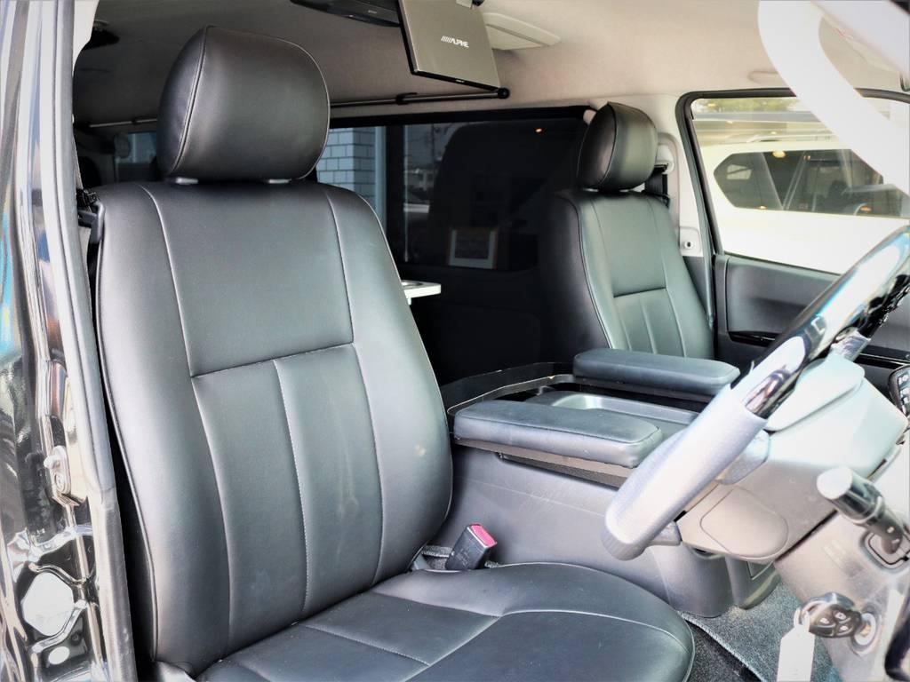 運転席シート、黒革調シートに張替え済み! | トヨタ ハイエース 2.7 GL ロング ミドルルーフ キャプテンシート ベッド
