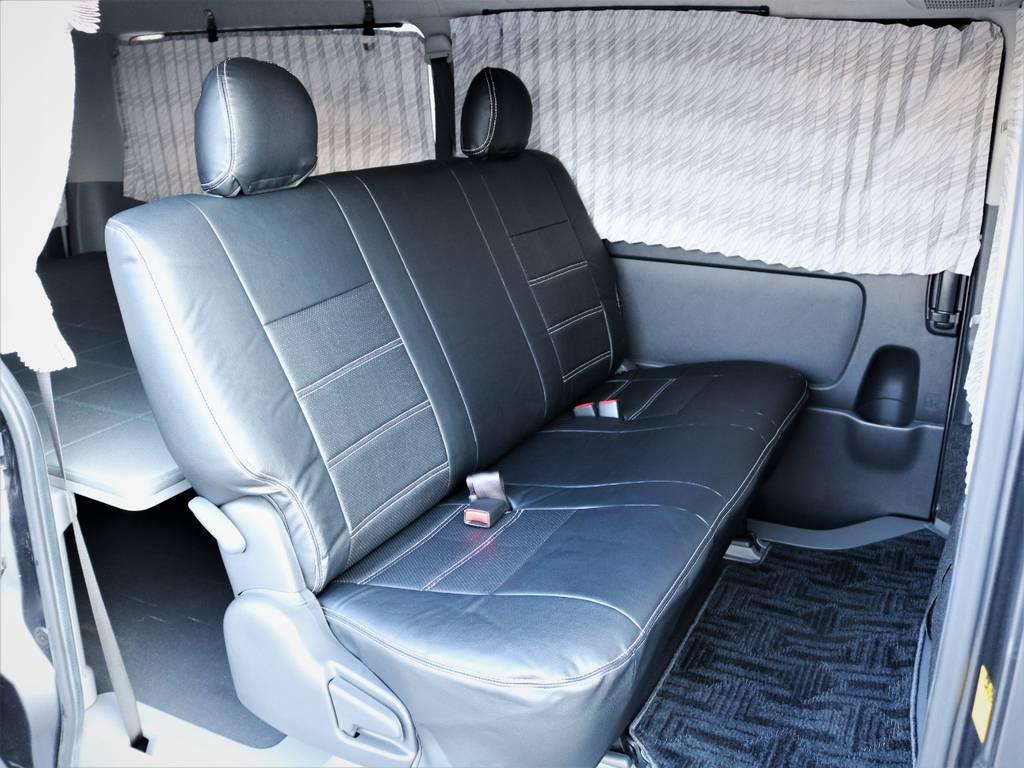 セカンドシート、折りたたみ可能です! | トヨタ ハイエースバン 3.0 マルチロールトランスポーター タイプⅡ ロング ディーゼルターボ ベッドキット 専用フロア