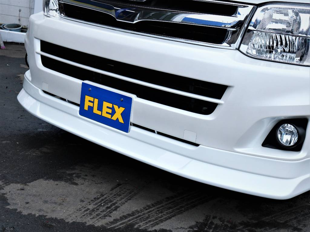FLEXオリジナルデルフィーノラインフロントスポイラー! | トヨタ ハイエース 2.7 GL ロング ミドルルーフ ファインテックツアラー