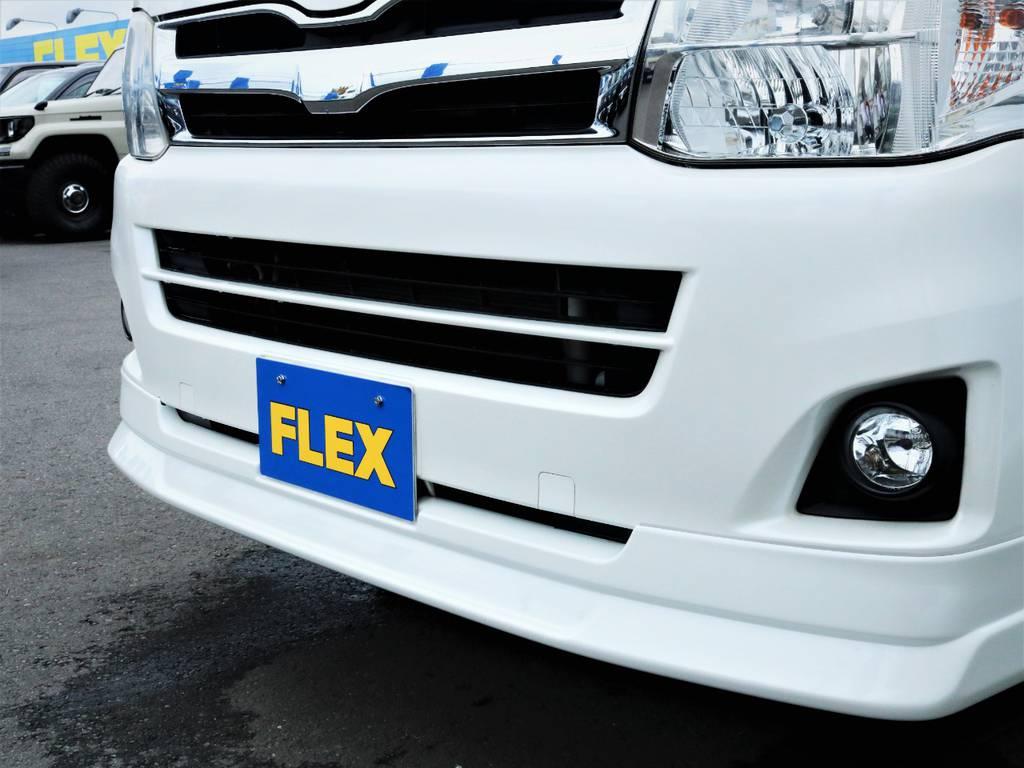 FLEXオリジナルデルフィーノラインフロントスポイラー! | トヨタ ハイエースバン 3.0 スーパーGL ロング ディーゼルターボ 4WD 買取直販