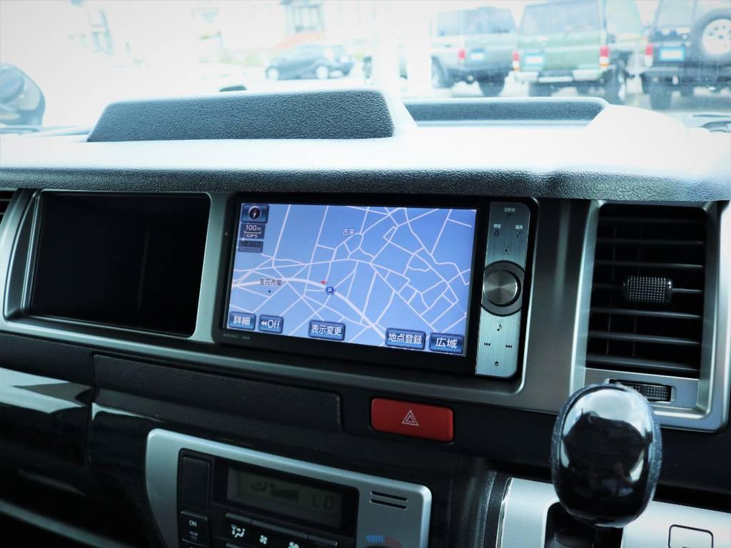 純正HDDナビ、フルセグTV、DVD再生可能! | トヨタ ハイエース 2.7 GL ロング ミドルルーフ 内装アレンジ