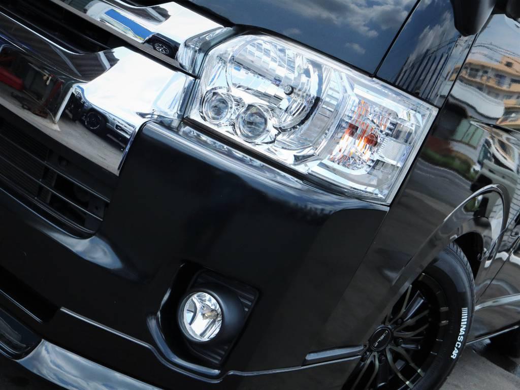 夜間走行に便利なメーカーオプション「LEDヘッドライト」! | トヨタ ハイエース 2.7 GL ロング ミドルルーフ 内装アレンジ