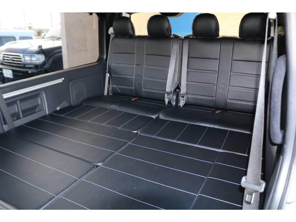 セカンドシート後方はベッドキット・4人掛け純正シート♪ | トヨタ ハイエース 2.7 GL ロング ミドルルーフ TSS付Ver2テーブル付 試乗車
