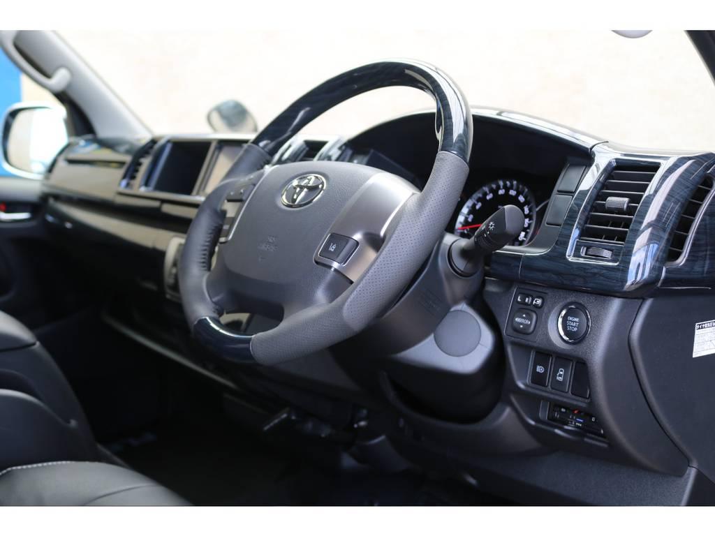 黒木目コンビハンドル&シフトノブ♪ | トヨタ ハイエース 2.7 GL ロング ミドルルーフ 4WD TSS付