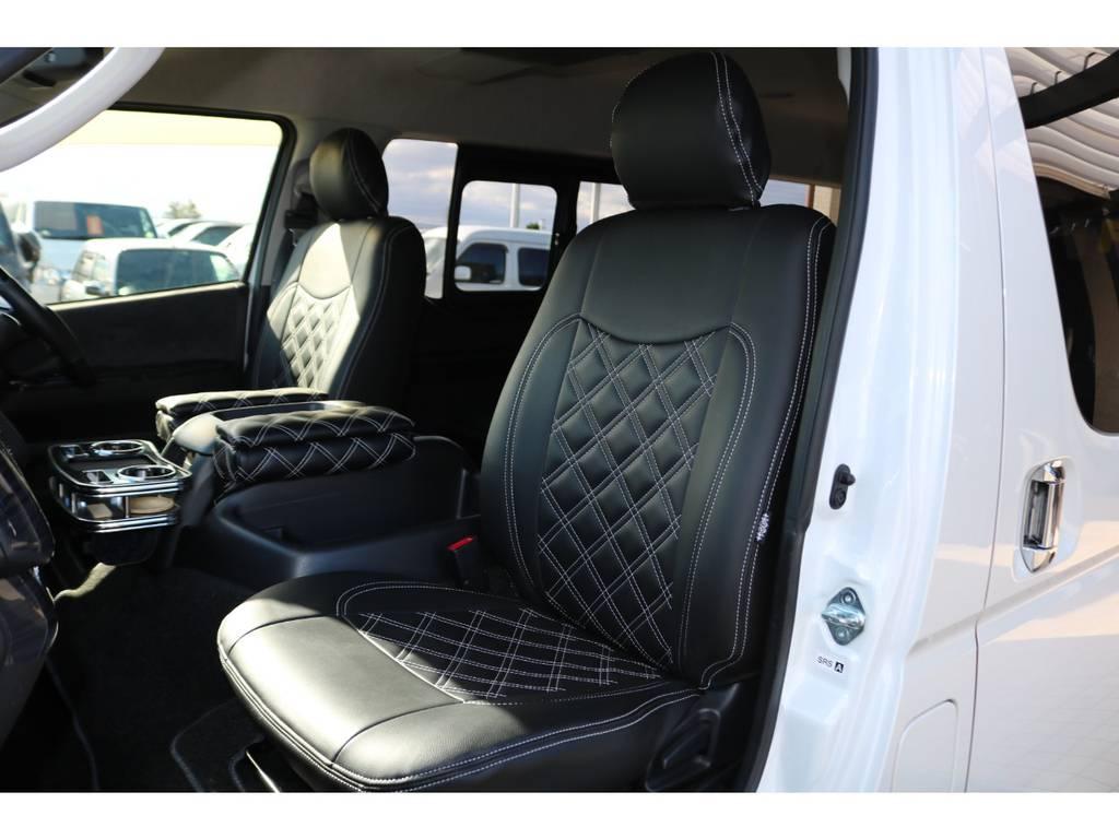 全席キルティングシートカバー装備♪   トヨタ ハイエース 2.7 GL ロング ミドルルーフ