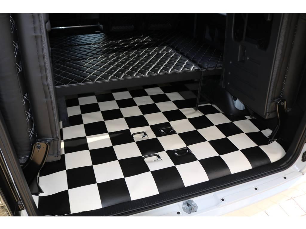リア全面チェッカー柄カーゴマット♪   トヨタ ハイエース 2.7 GL ロング ミドルルーフ