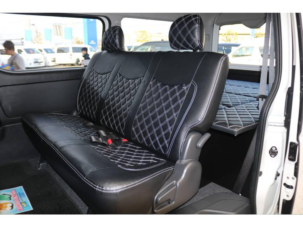 全席キルティングシートカバー装備♪ | トヨタ レジアスエース 2.7 スーパーGL ダークプライム ワイド ミドルルーフ ロングボディ 4WD