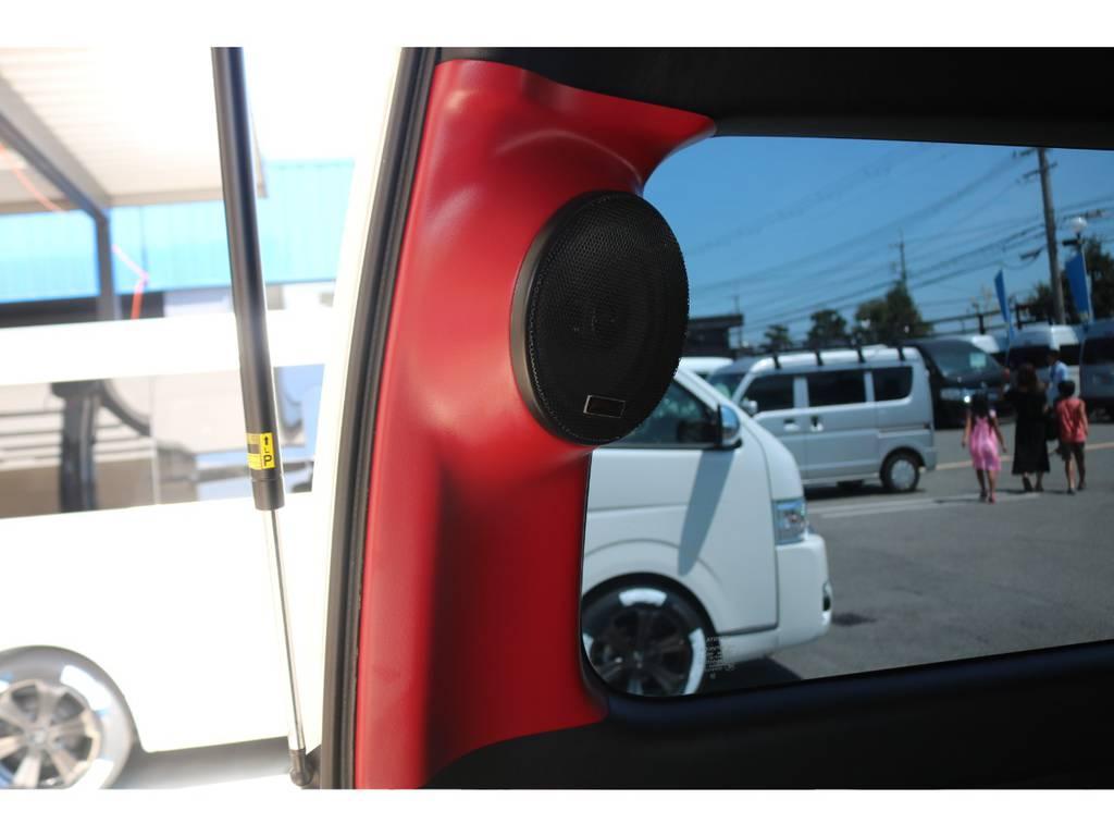 Aピラー・Dピラースピーカー装備♪ | トヨタ ハイエースバン 2.7 スーパーGL ワイド ロング ミドルルーフ 4WD GIBSONフルエアロ
