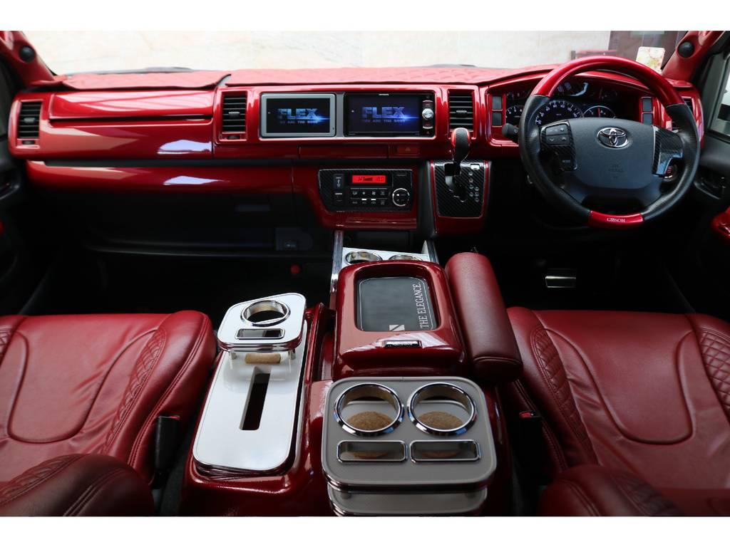 赤に統一されたコックピット♪ | トヨタ ハイエースバン 2.7 スーパーGL ワイド ロング ミドルルーフ 4WD GIBSONフルエアロ