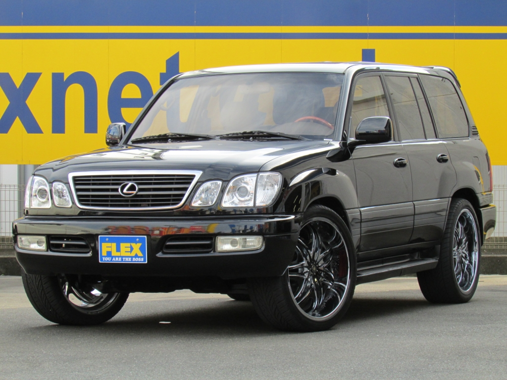 レクサス LX470 黒 希少左ハンドル HID&LED ディアブロ24インチAW&タイヤ サイバーナビ 本革パワーシート 豪華装備のLEXUS!