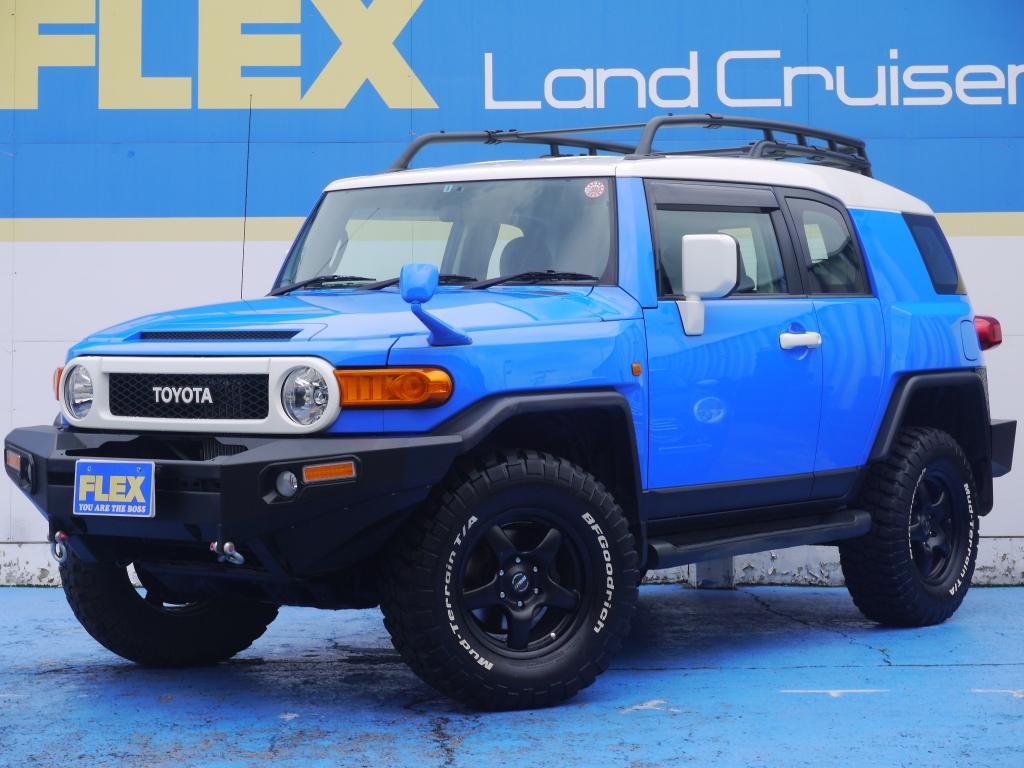 FJクルーザー 4000G 絶版カラーブルー 2インチUP ブラV17インチ BFG285MTタイヤ ルーフキャリア クロカンバンパー 各所ルーフ同色塗装 地デジHDDナビ ETC