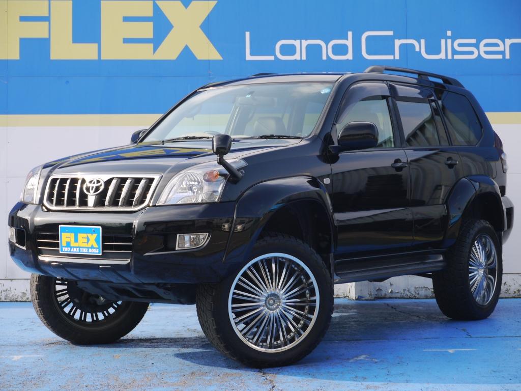 ランクル120プラド TX-LTD 2700G 純正ブラック 4インチUP MKW20インチAW NITTO305ATタイヤ オーバーフェンダー 社外マフラー ブラックシートカバー ETC ルーフレール